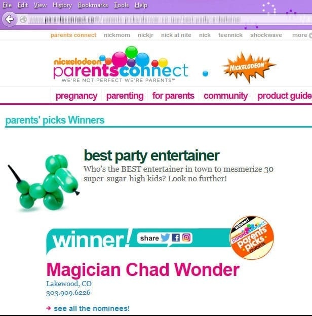 Award winning magic of Chad Wonder from Nickelodeon